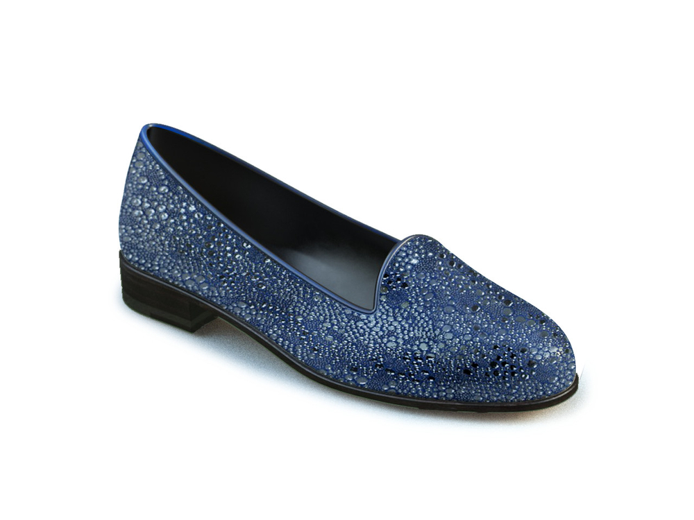 navy stingray printed leather woman mocassin