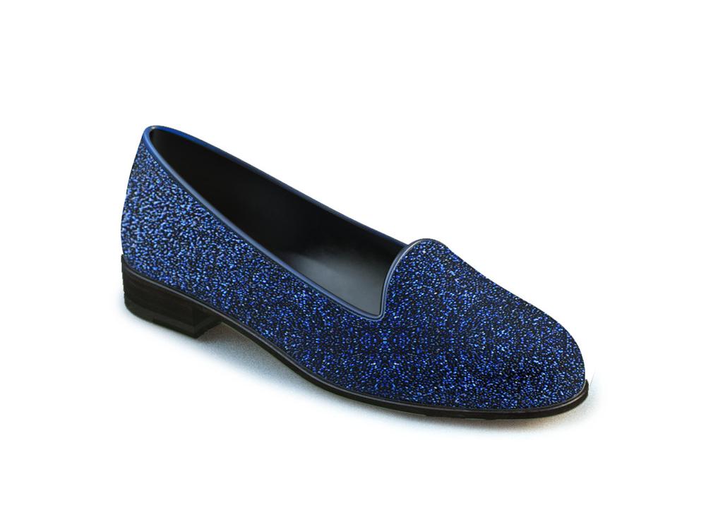 mocassino donna pelle stardust glitter blu