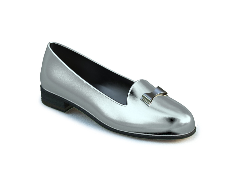 silver laminated leather and ribbon woman mocassin