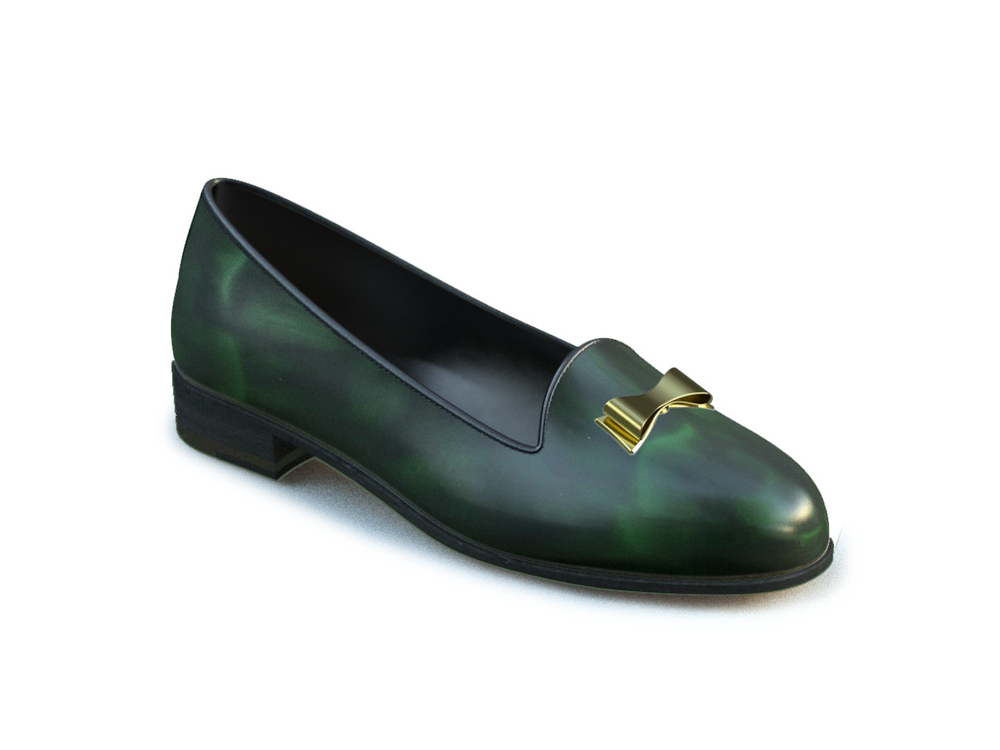 green polished gold ribbon leather woman mocassin