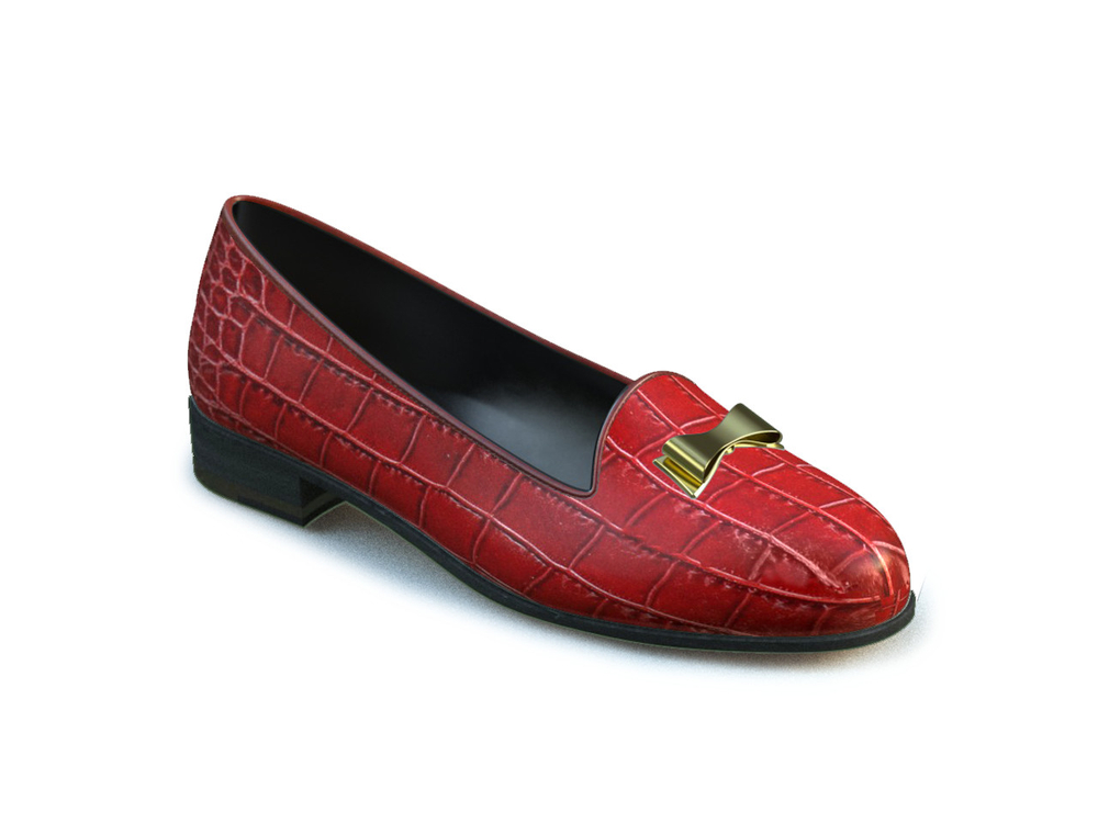 red crocodile printed leather woman mocassin with ribbon