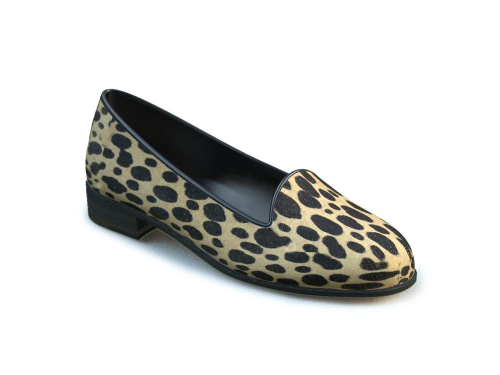 mocassino donna pelle stampa leopardata