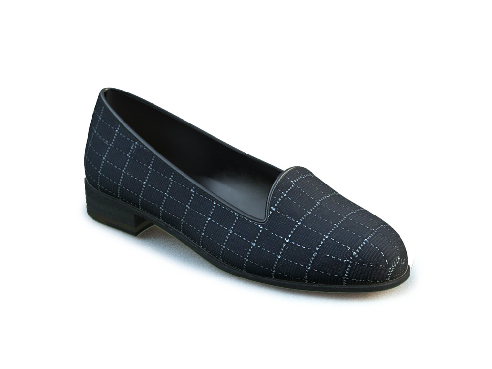 black square pattern leather woman mocassin