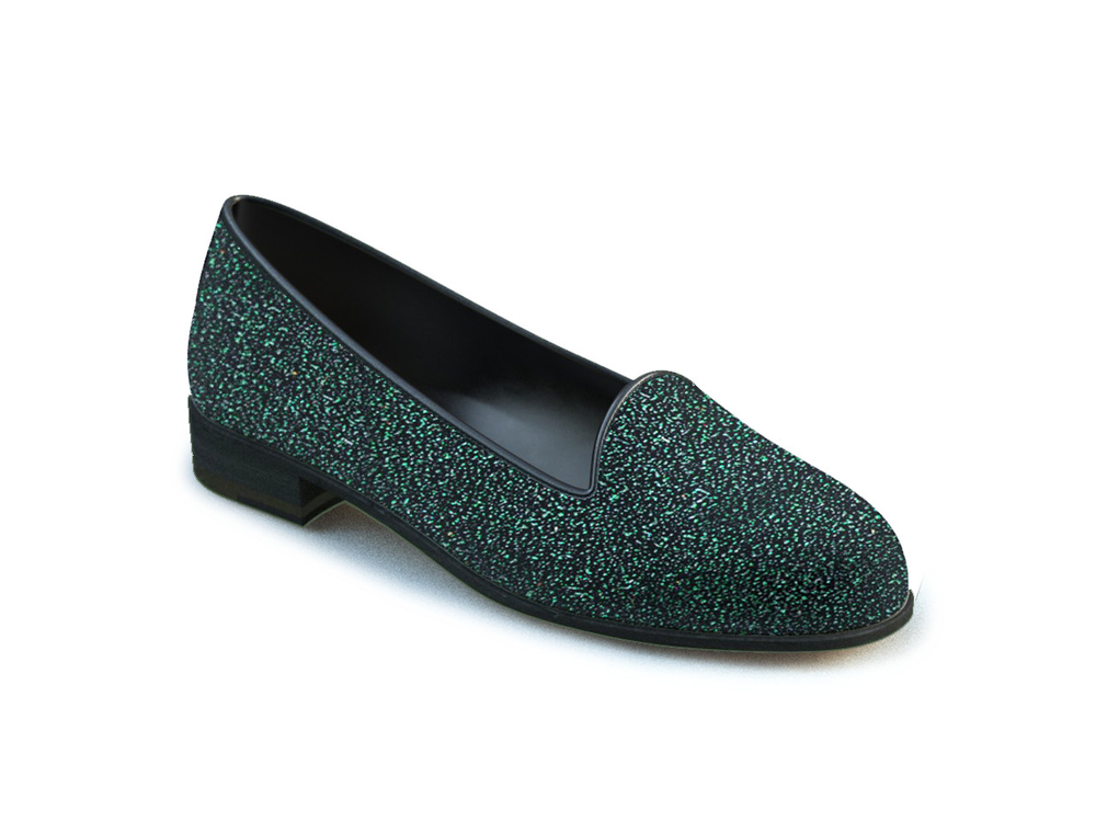 green glitter stardust leather woman mocassin