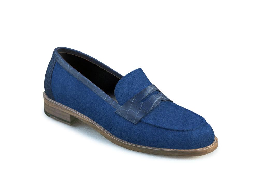 scarpe college donna pelle scamosciata bluette stampa cocco blu