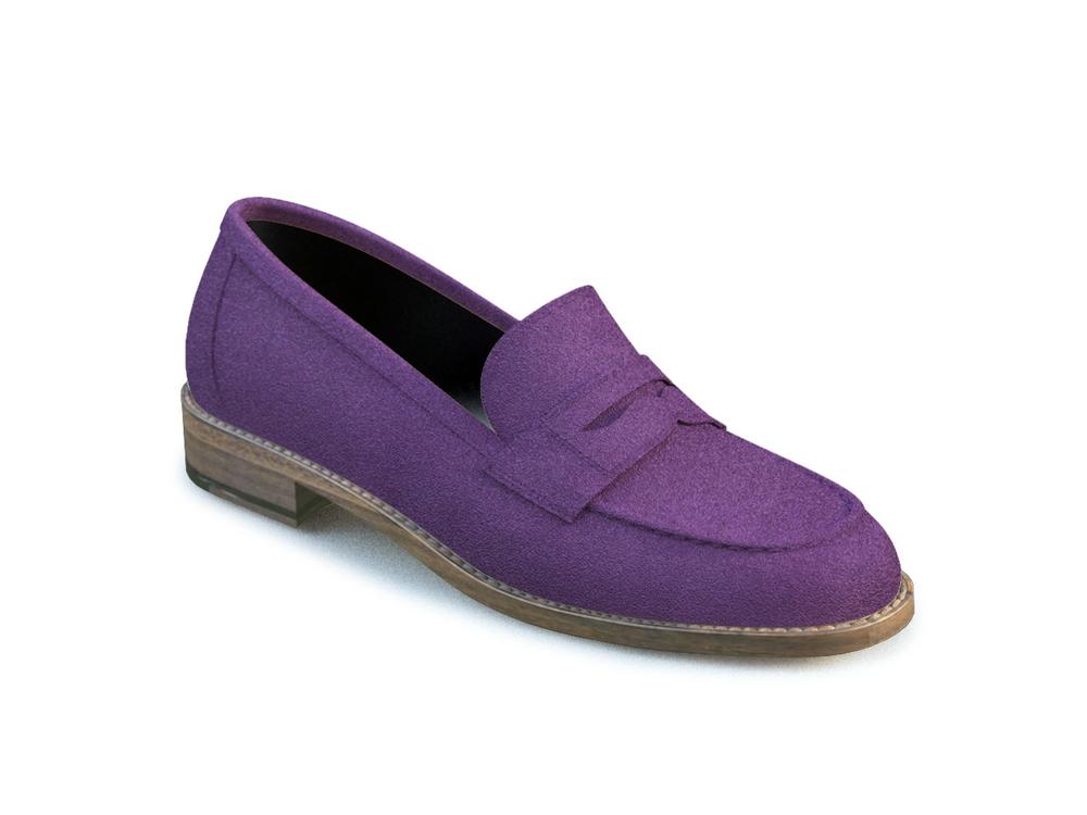 scarpe college donna pelle scamosciata viola