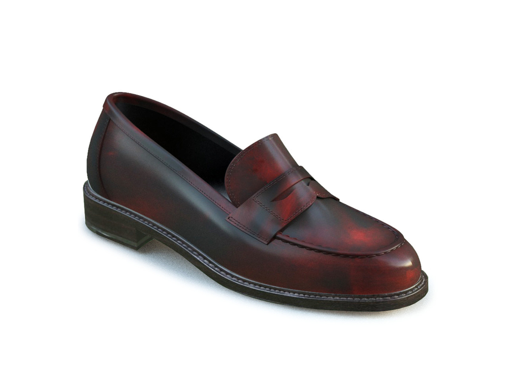 red polished leather women college shoes