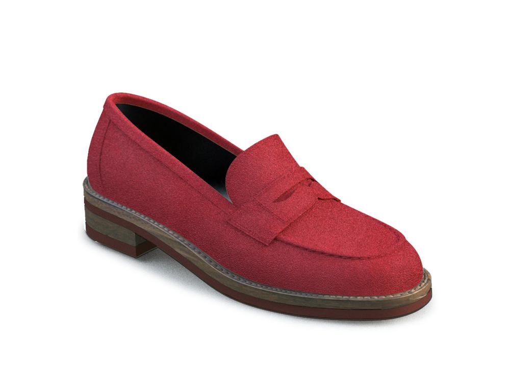 scarpe college donna pelle scamosciata rossa