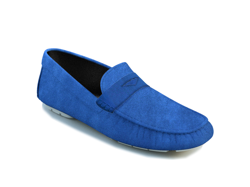 indigo suede leather driver shoes
