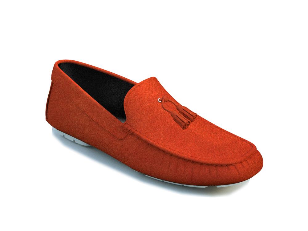 orange suede tassel driver shoes