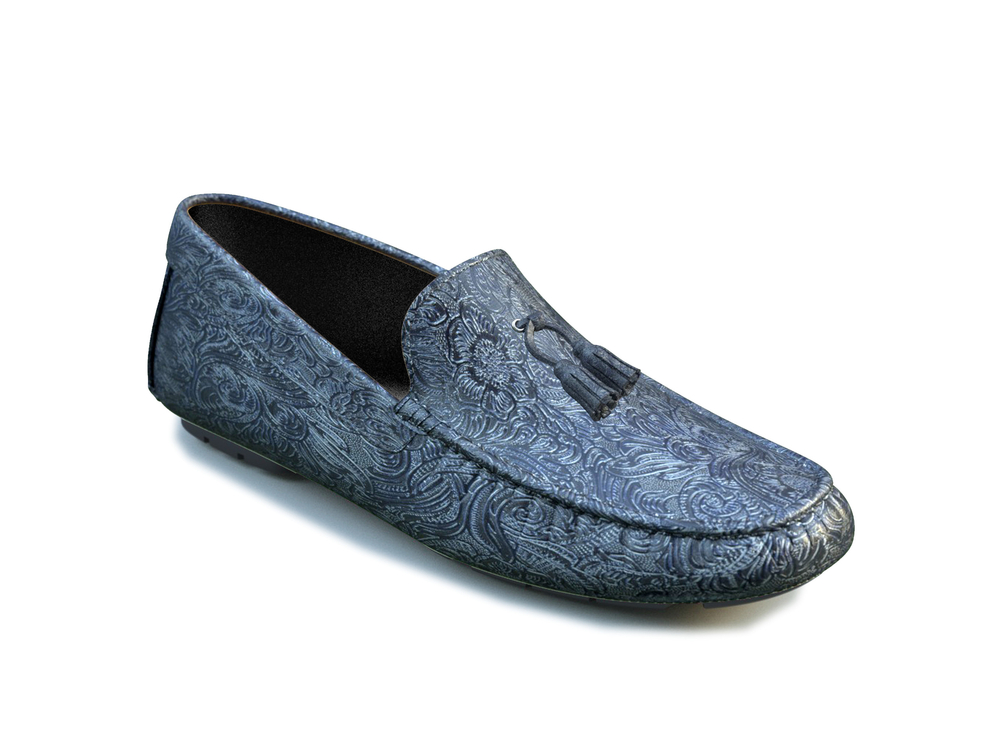 blue damask leather tassel driver shoes