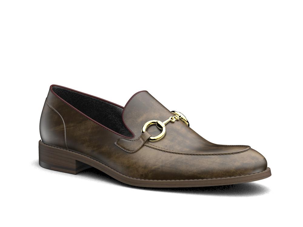 olive green deco leather men gold horsebit loafer