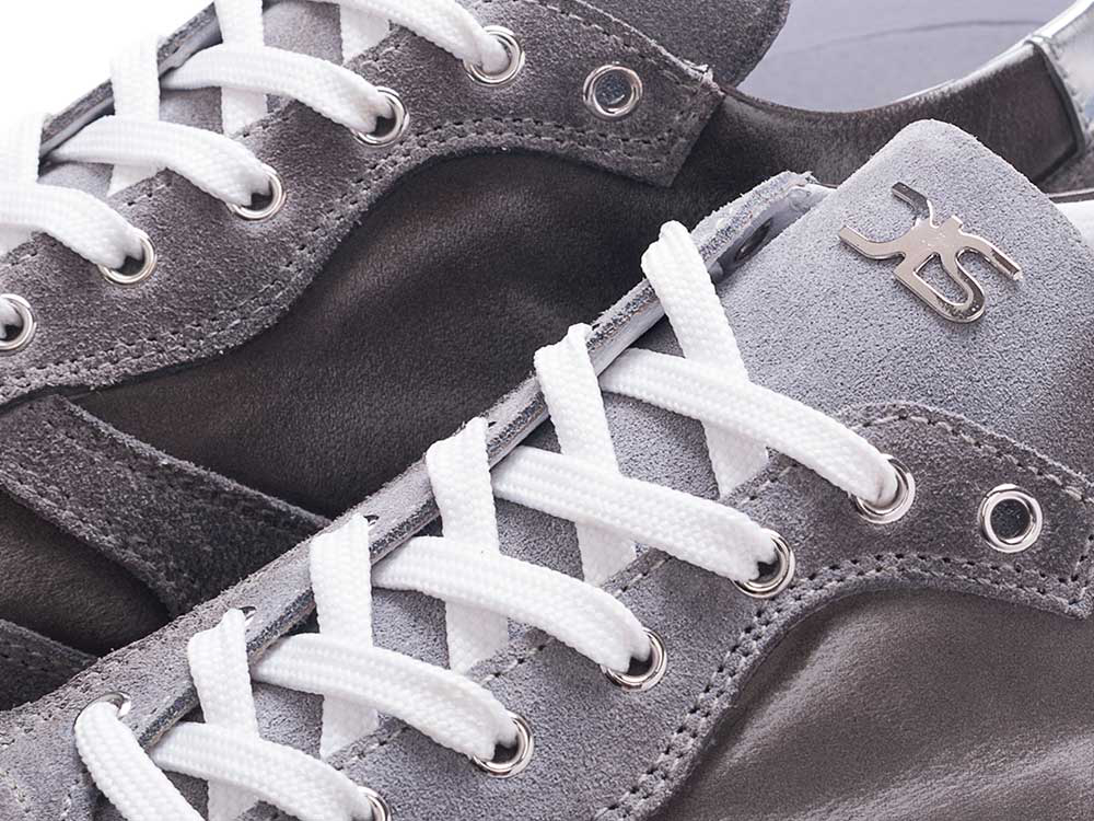 low top running polished suede gray leather