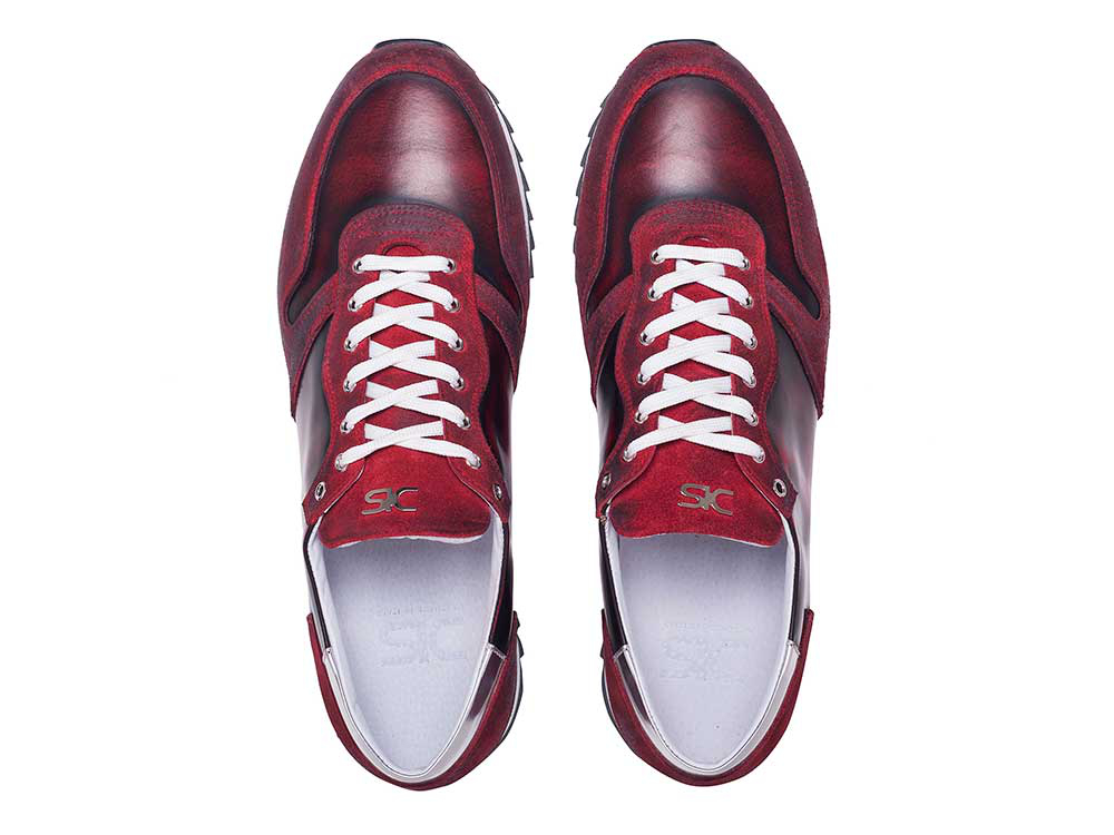 low top running polished suede red leather