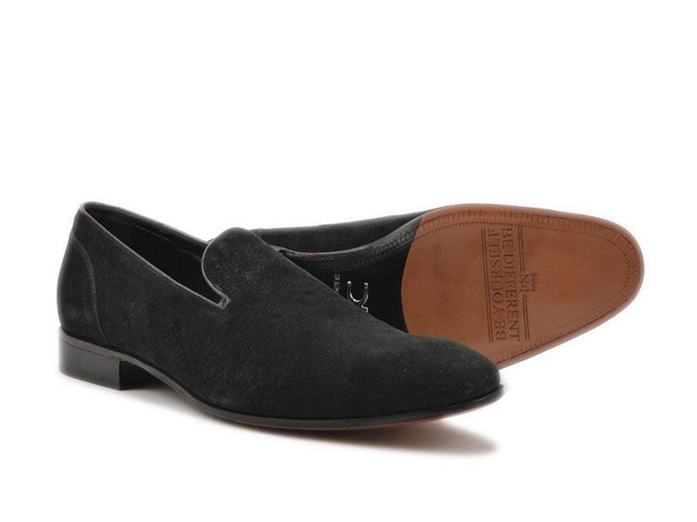italian mocassin black suede leather