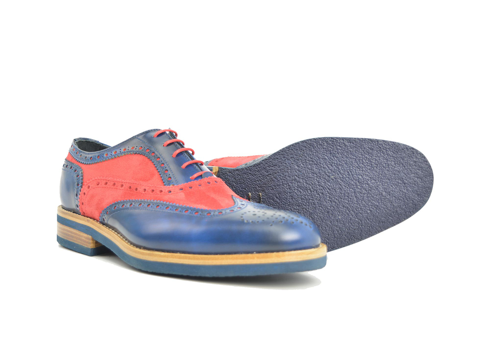 blue polished and red suede men oxford wing brogue
