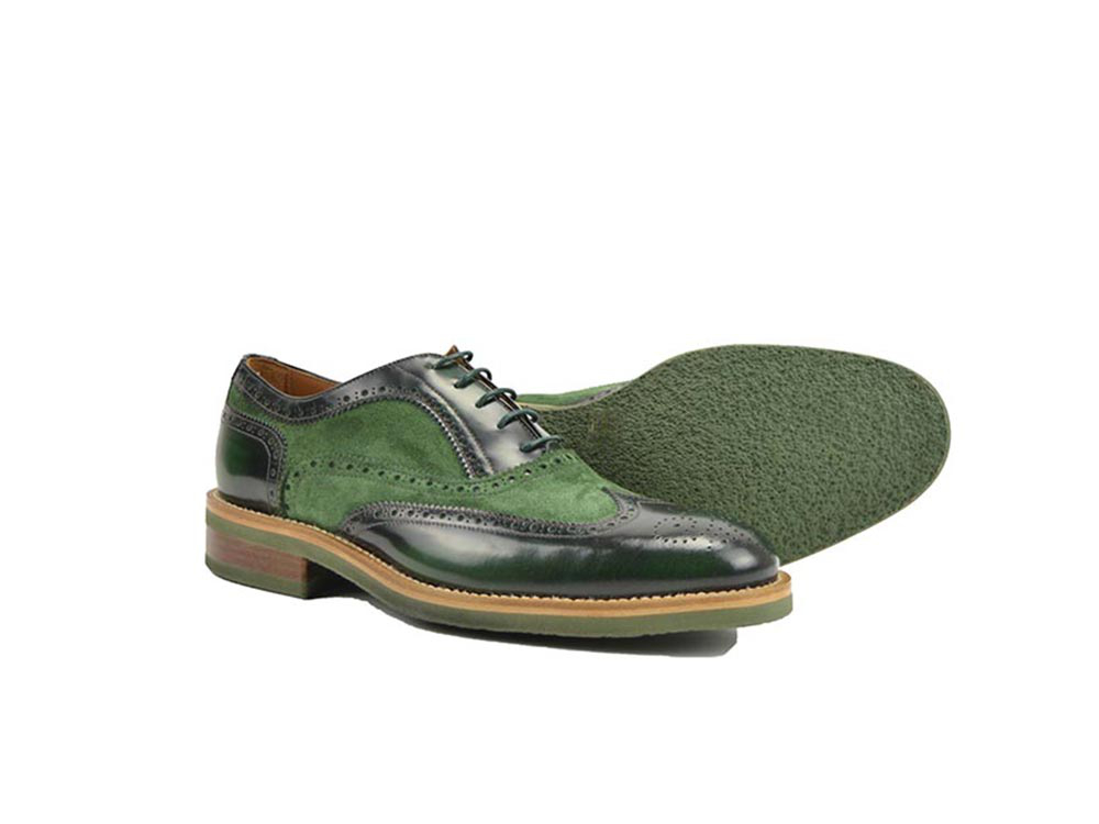 green men oxford wing brogue in polished and suede leather