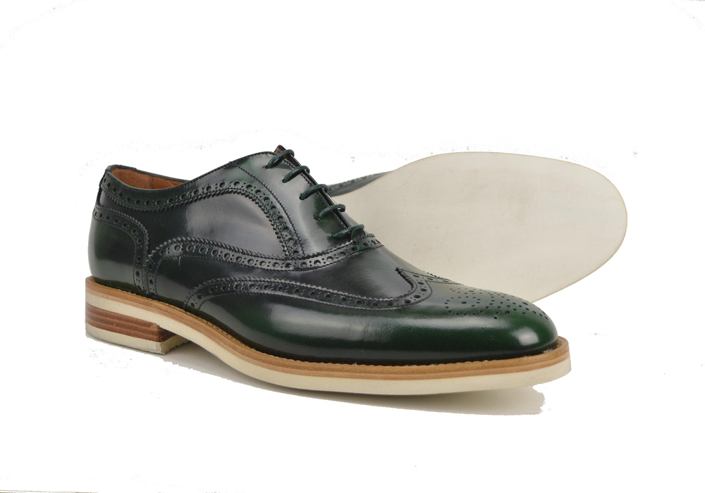 green men oxford wing brogue in polished leather