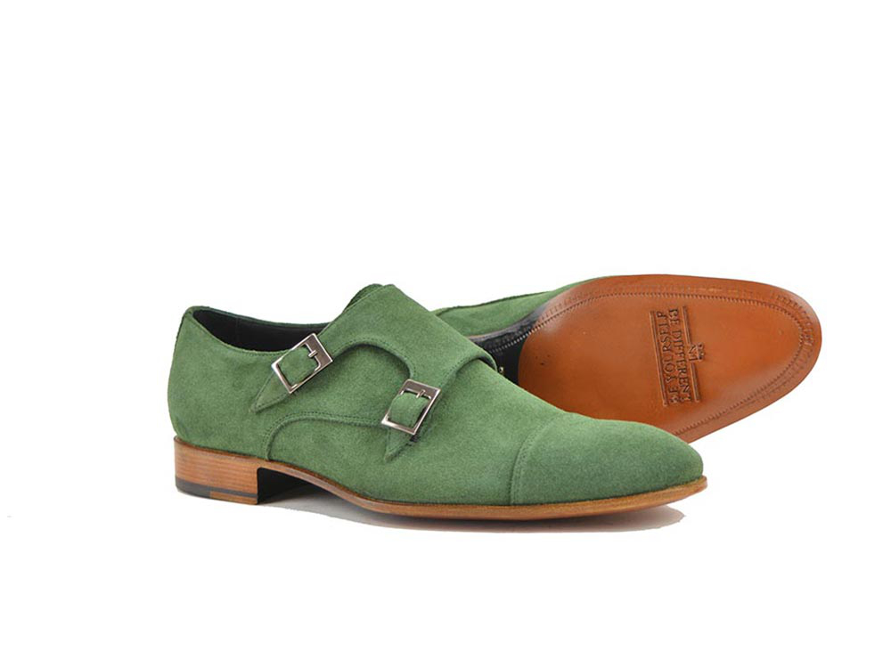 double buckle loafer in green suede leather