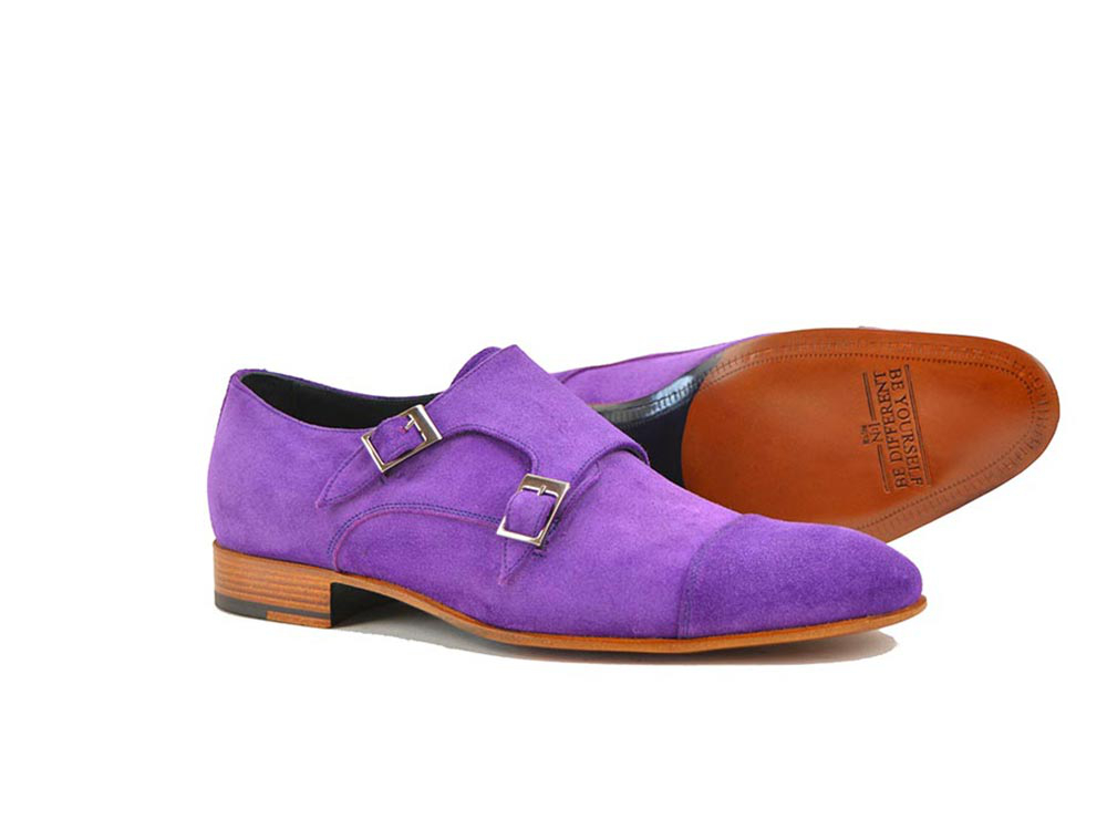 double buckle loafer in violet suede leather