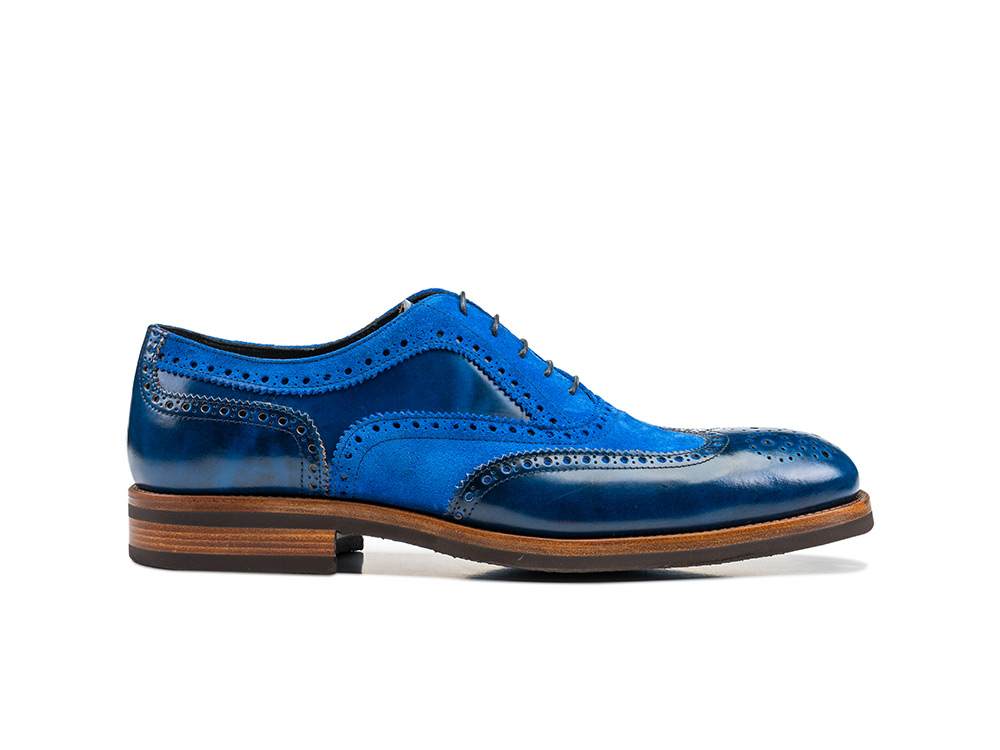 blue polished suede leather men oxford wing brogue