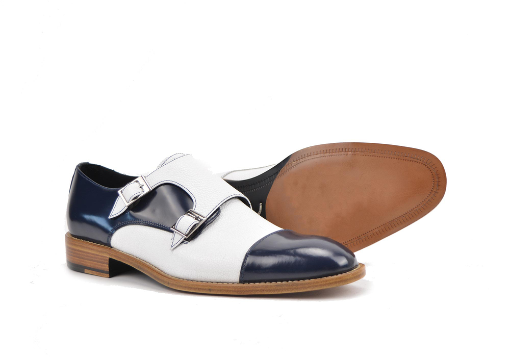 double buckle loafer in calf blue and grain white leather