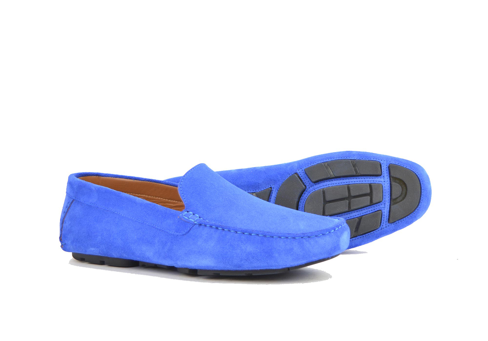 blue suede leather driver shoes