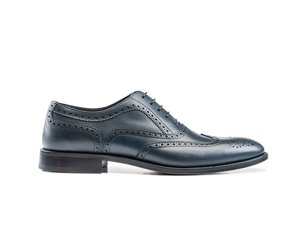 navy calf leather men oxford wing brogue