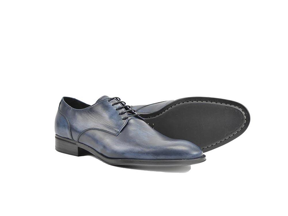 blue decò leather men derby plain shoes