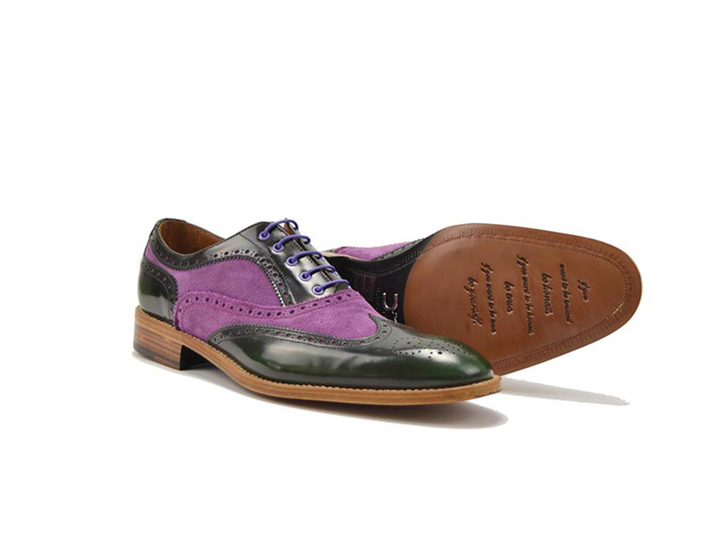 men oxford shoes in violet suede and green polished leather
