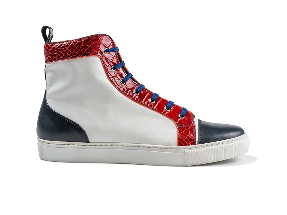high top sneakers red crocodile patter, white calf leather