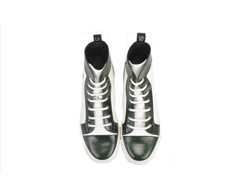 sneakers alta in pelle abrasivata verde e lucida bianca