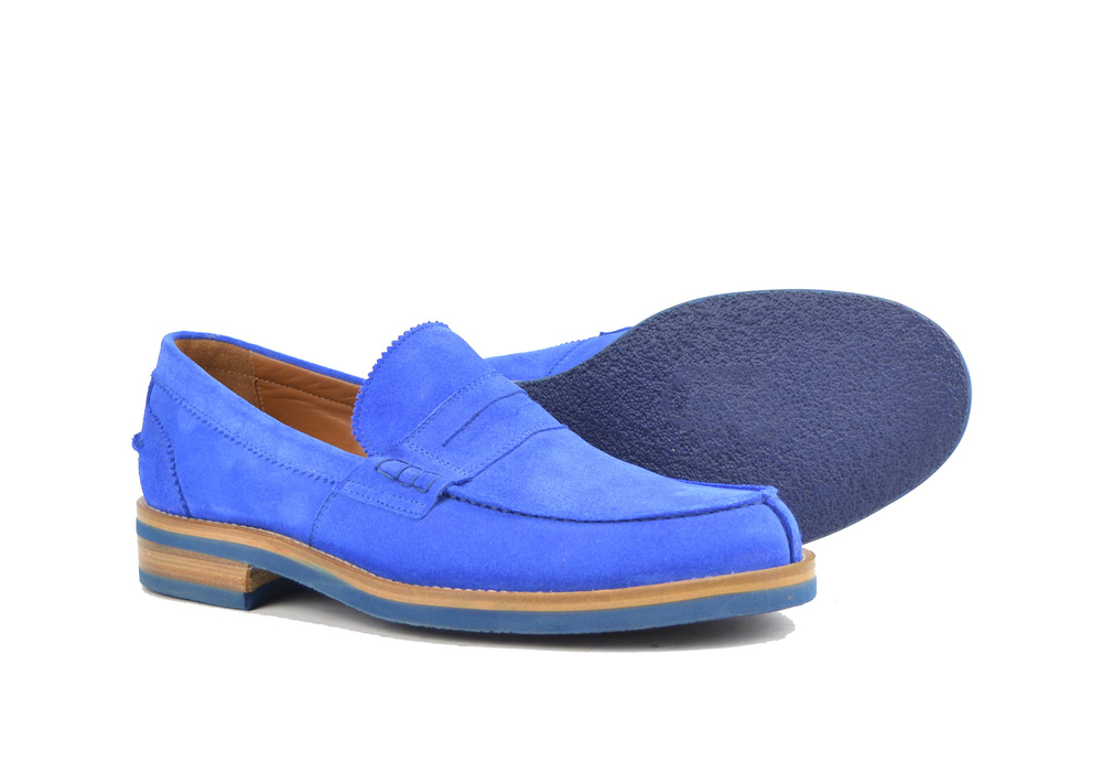 suede blue leather men college