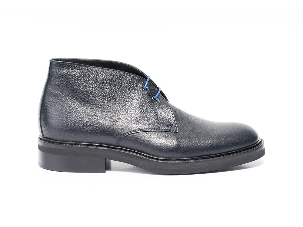 navy grain leather men desert boot