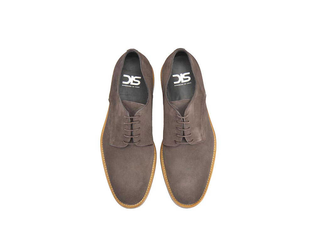 men derby plain in coffee  suede leather