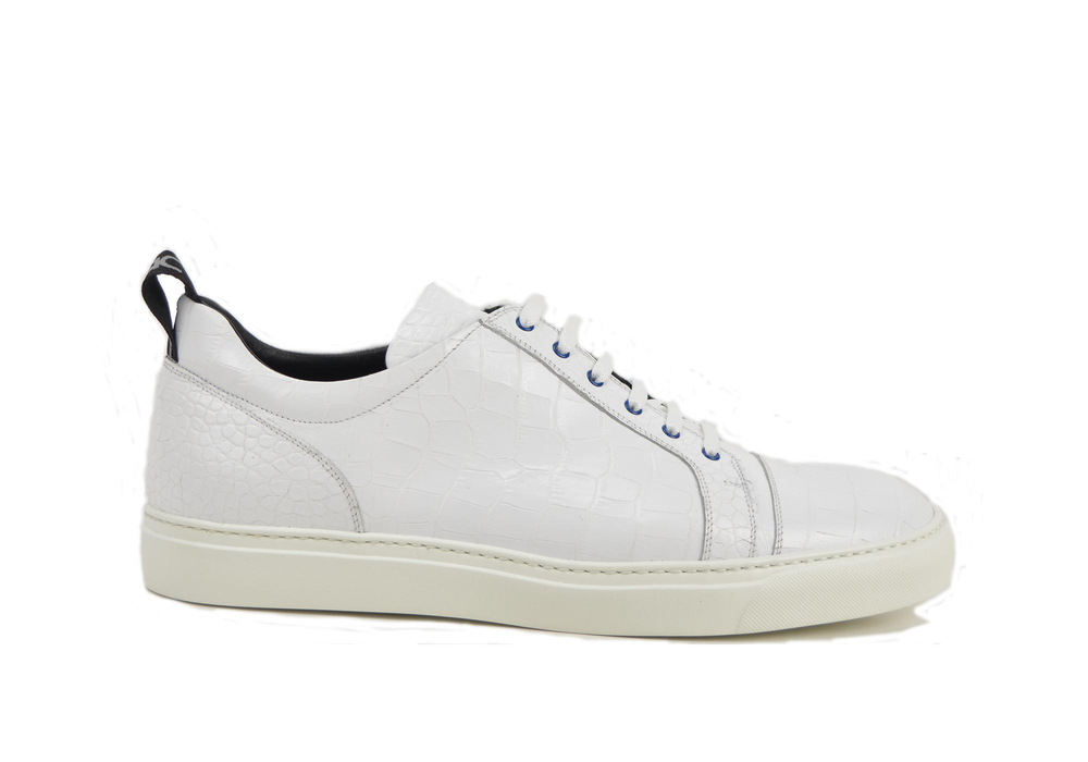 low top sneakers crocodile pattern leather