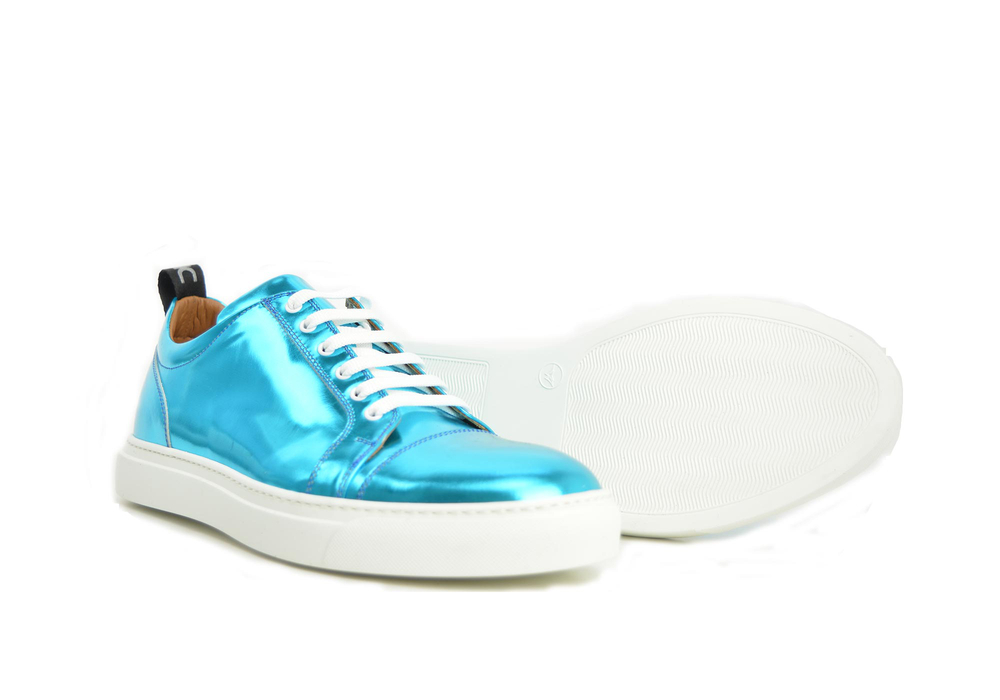 pietro - low top sneakers turquoise laminate leather