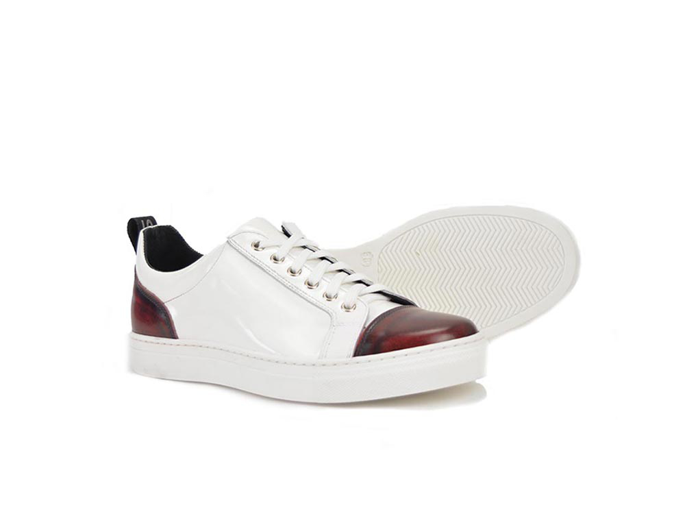 low top sneakers white shiny and burgundy polished leather