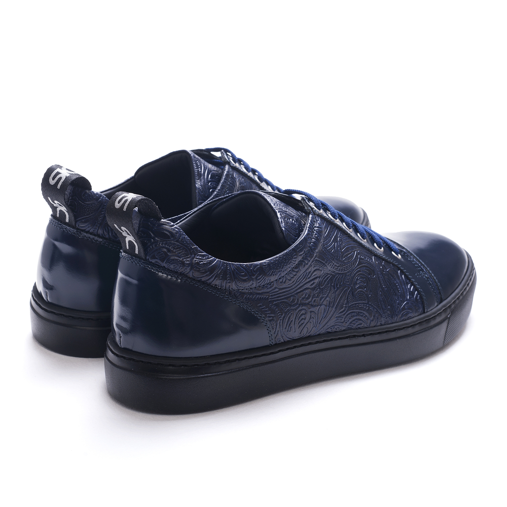 low top sneakers navy shiny and damask blu leather