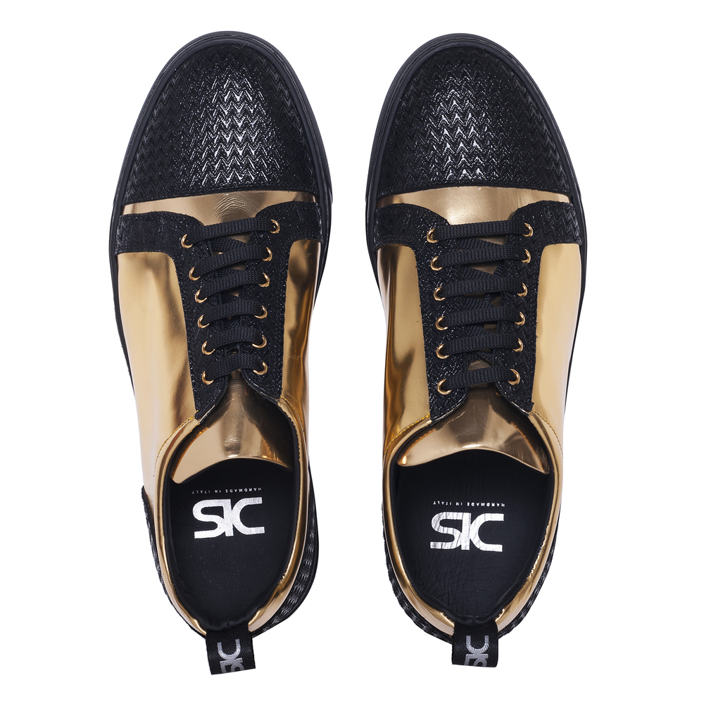 low top sneakers laminated gold and victory black leather