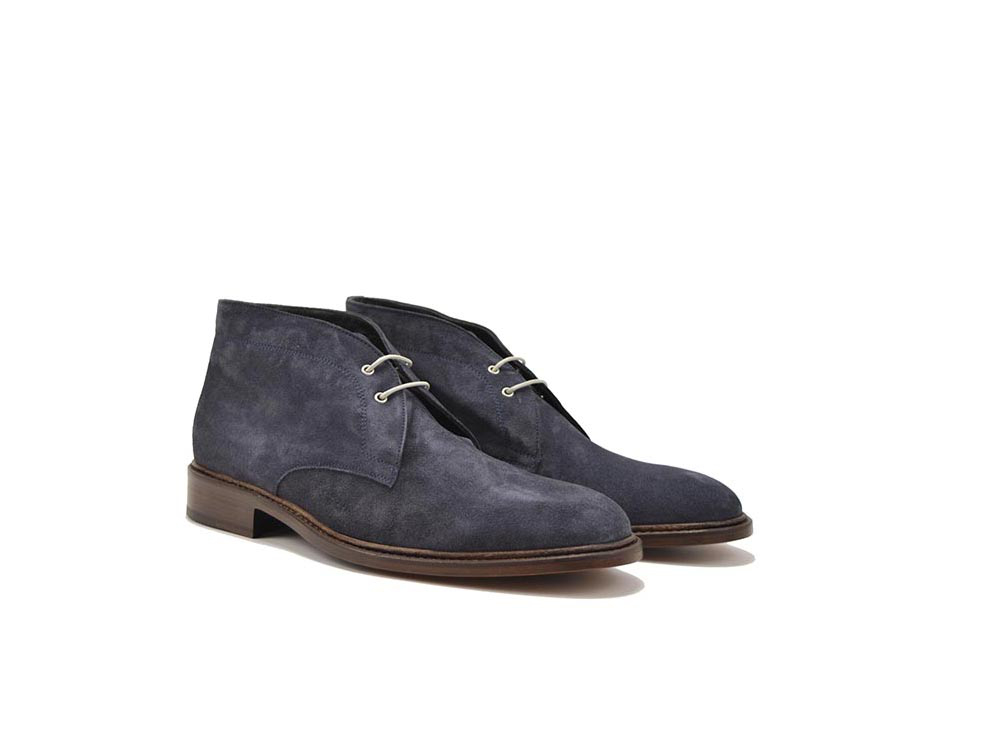 total navy suede leather men desert boot