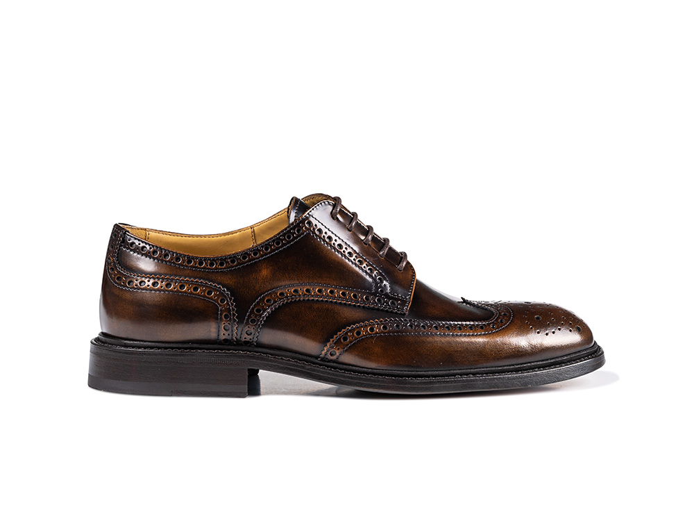 bronza polished leather men derby wing brogue