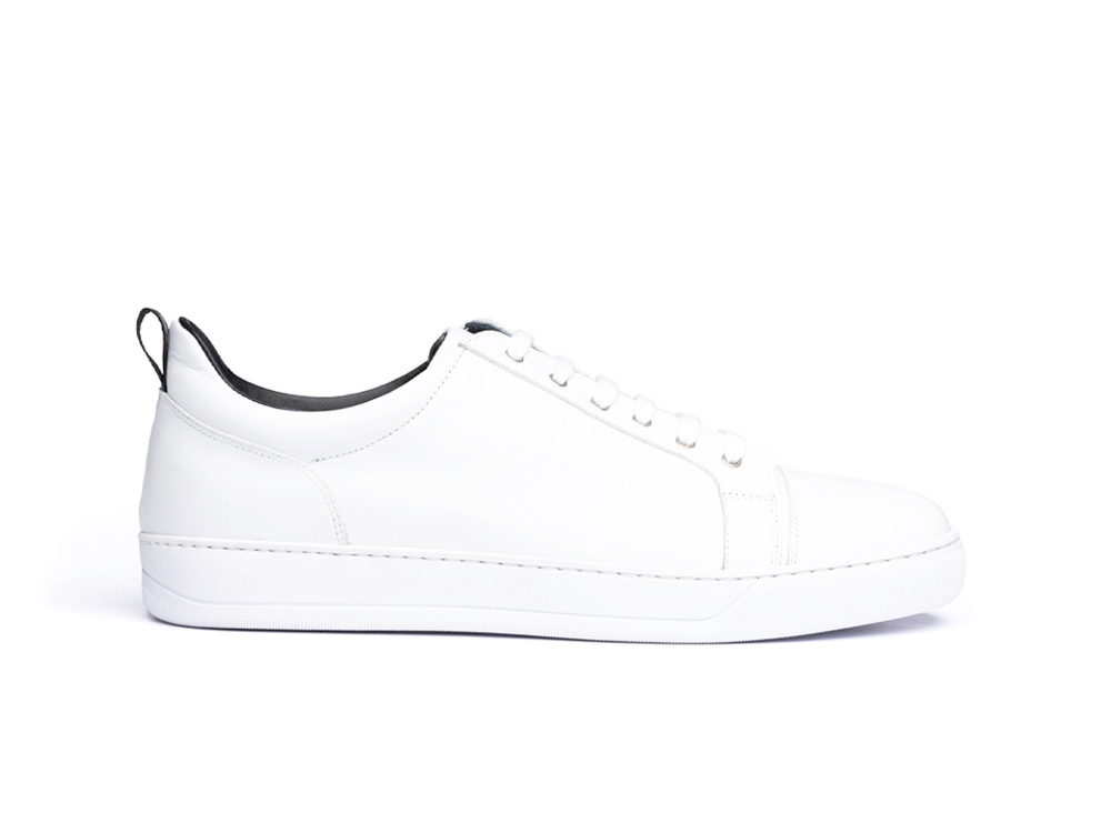 low top white calf leather sneaker