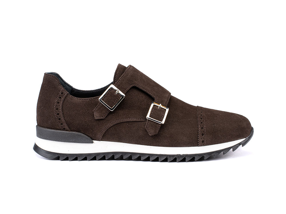coffee suede double monk running