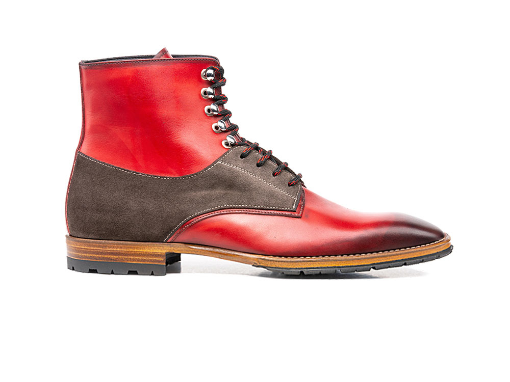 red calf crust coffee suede leather men ankle boot