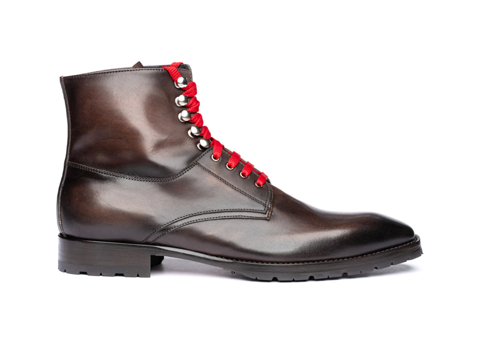 coffee calf crust leather men ankle boot
