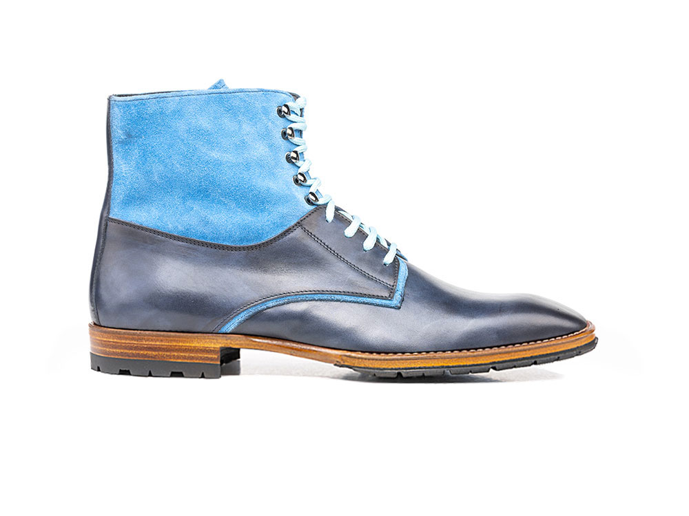 blue calf crust suede leather men ankle boot