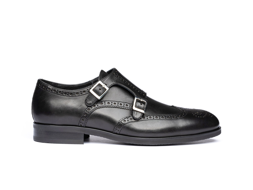 black calf leather men double monk