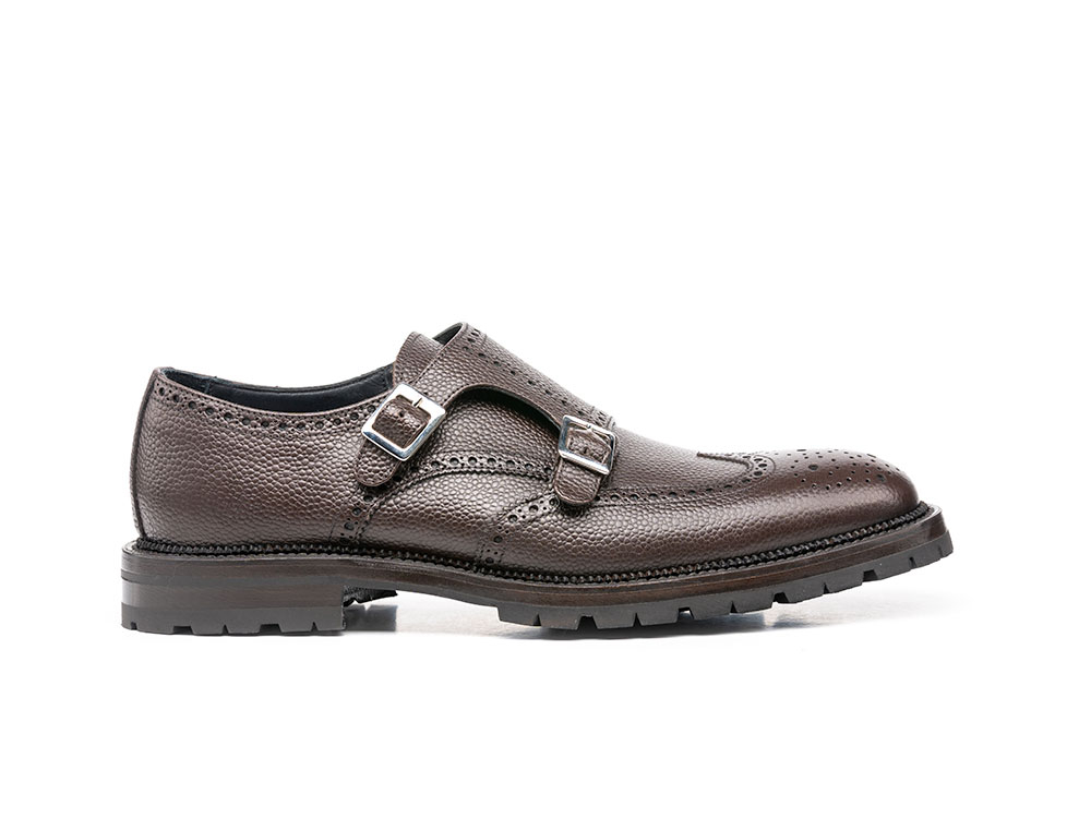coffee pebble grain leather men double monk