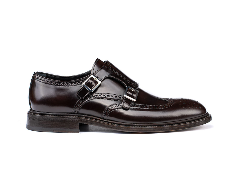 coffee polished leather men double monk